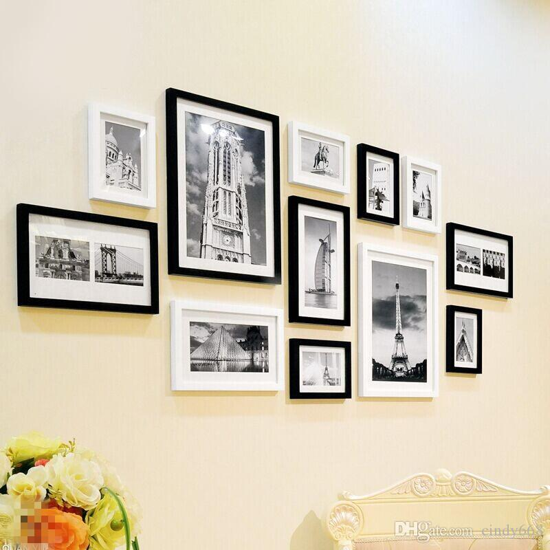 2019 Fashion Black White Picture Frames Set Brand Decor Wooden Photo