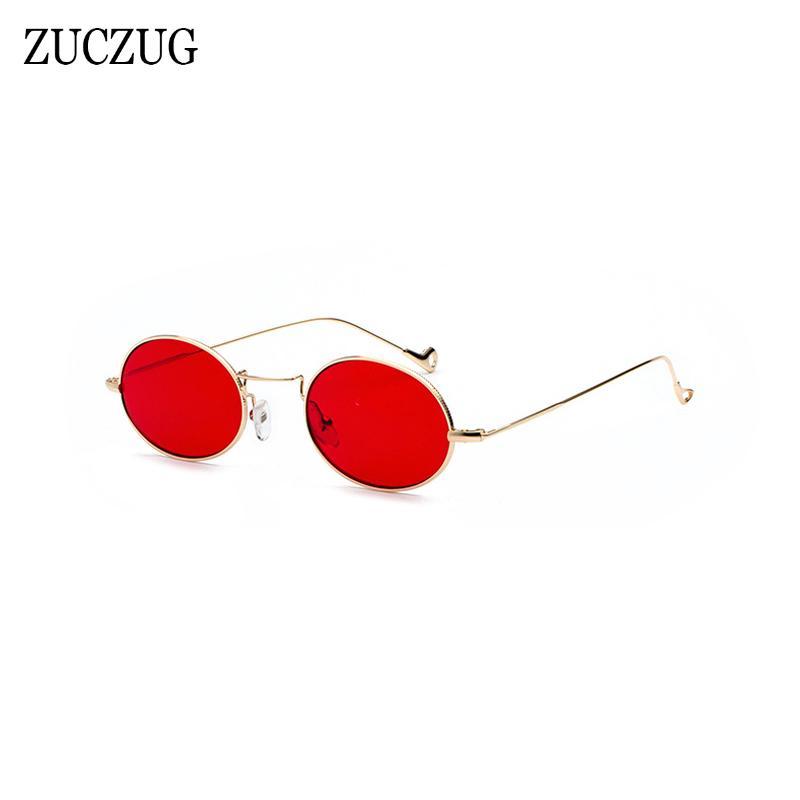 2be326622ab0c Compre ZUCZUG Retro Oval Óculos De Sol Das Mulheres De Design Da Marca  Redonda Tamanho Pequeno Óculos De Sol Das Senhoras De Ouro Quadro Vermelho  Rosa Azul ...