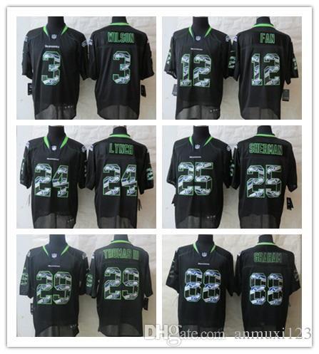 huge selection of 09bcb ae819 Seattle 31 Kam Chancellor 3 Russell Wilson Jersey Men's 25 Richard Sherman  12 Fan Seahawks Vapor Untouchable Limited Rush Jerseys