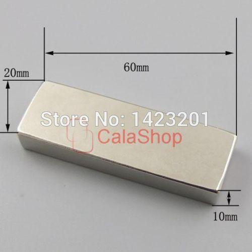 One pcs 60x20x10 Magnets Block Neodymium N52 Disc Rare Earth Super Strong Fridge Magnet