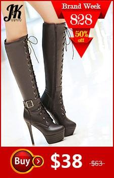 Acheter Genou Haute Femmes Bottes Zipper Moto Bottes Talons Hauts Boucle Sangle Chaussures Plateforme À Lacets Bottes Hiver Grande Taille 34 45 De