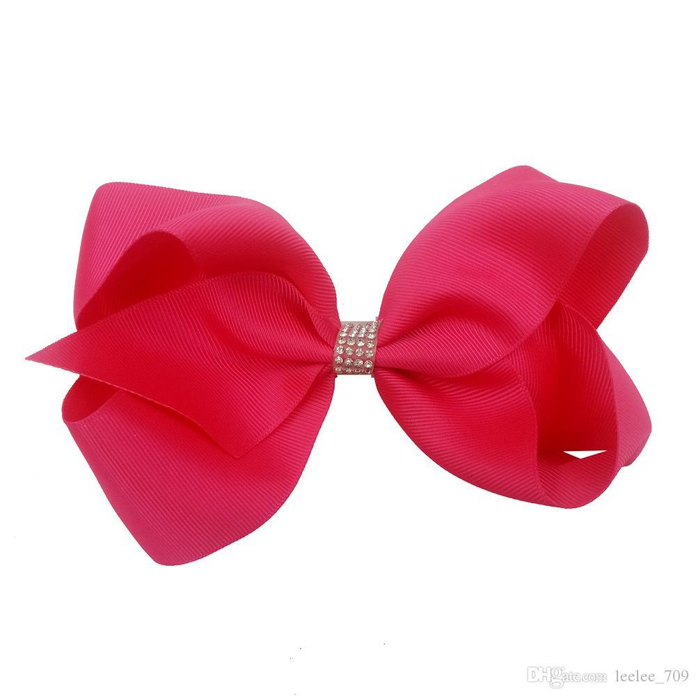 12 Cores JOJO Com o diamante de 6 Polegada Moda Fita Do Bebê Bow Hairpin Clipes Meninas Grande Bowknot Barrette Crianças Boutique de Cabelo Arcos Crianças cabelo