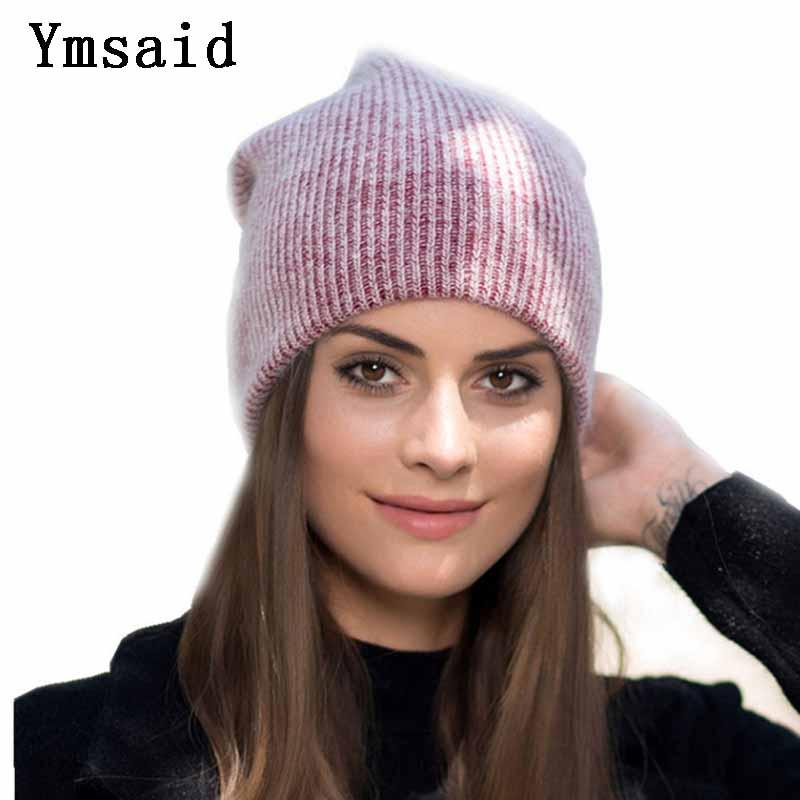 52b01db8920 Ymsaid 2018 Winter New Wool Rabbit Knitted Beanies Hats For Women Casual  Solid Color Skullies Hat Female Warm Ski Caps Beanie Caps Slouchy Beanie  Crochet ...