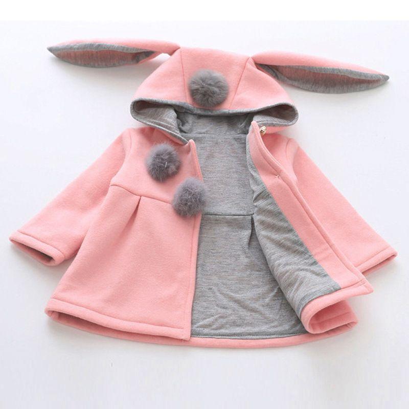 dd881d2ea Spring Autumn Winter Warm Kids Jacket Outerwear Cute Rabbit Ear ...