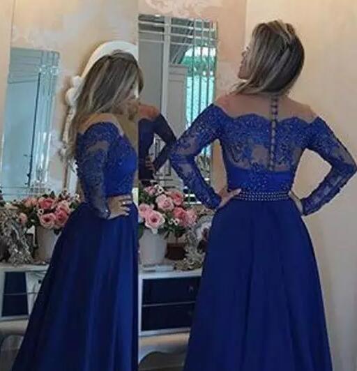 Sexy O Neck Royal Blue Chiffon Long Evening Dress Party Elegant Vestido De Festa Full Sleeves A line Prom Dresses