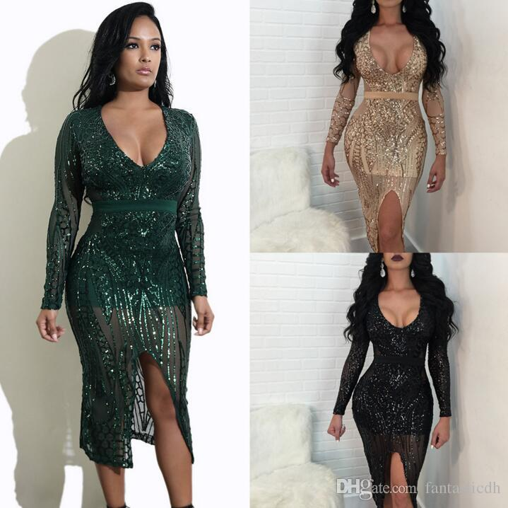 Prom Dresses Bling Bling Crystals Party Dresses Chiffon Long Sheer Deep V Neck Thigh-High Slits Light Champagne Formal Evening Wear Gowns