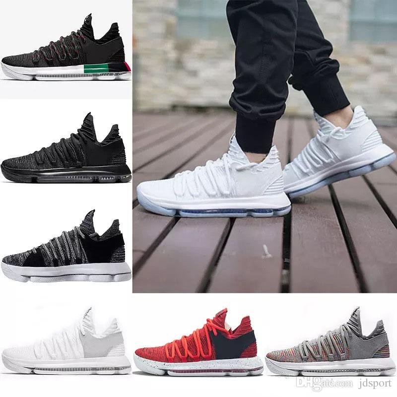 2019 Basketball Shoes Mens KD 10 Sport Sneakers Triple Black White BHM Oreo  Anniversary Red Multi Color Elite Kevin Durant Big Size 7 12 From Jdsport 2e96f42646