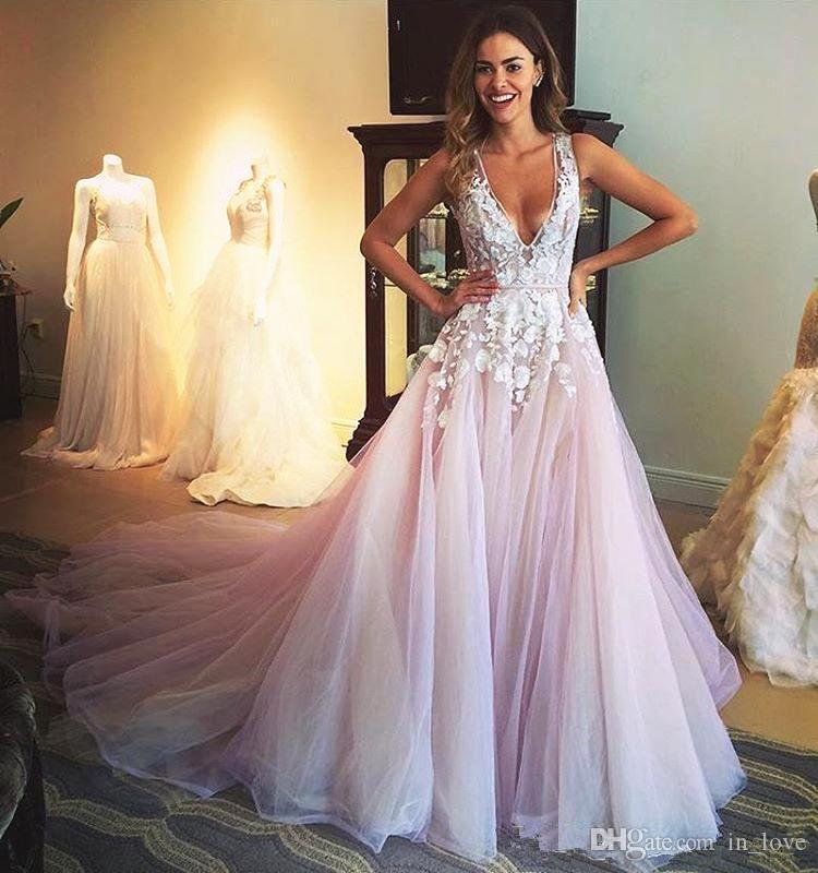 4033197be3 Discount Deep V Neck Wedding Dresses Pale Pink And White 3d Appliques Lace  Tulle A Line 2018 Modern Sexy Style Bridal Gowns Custom Size Monique  Lhuillier ...