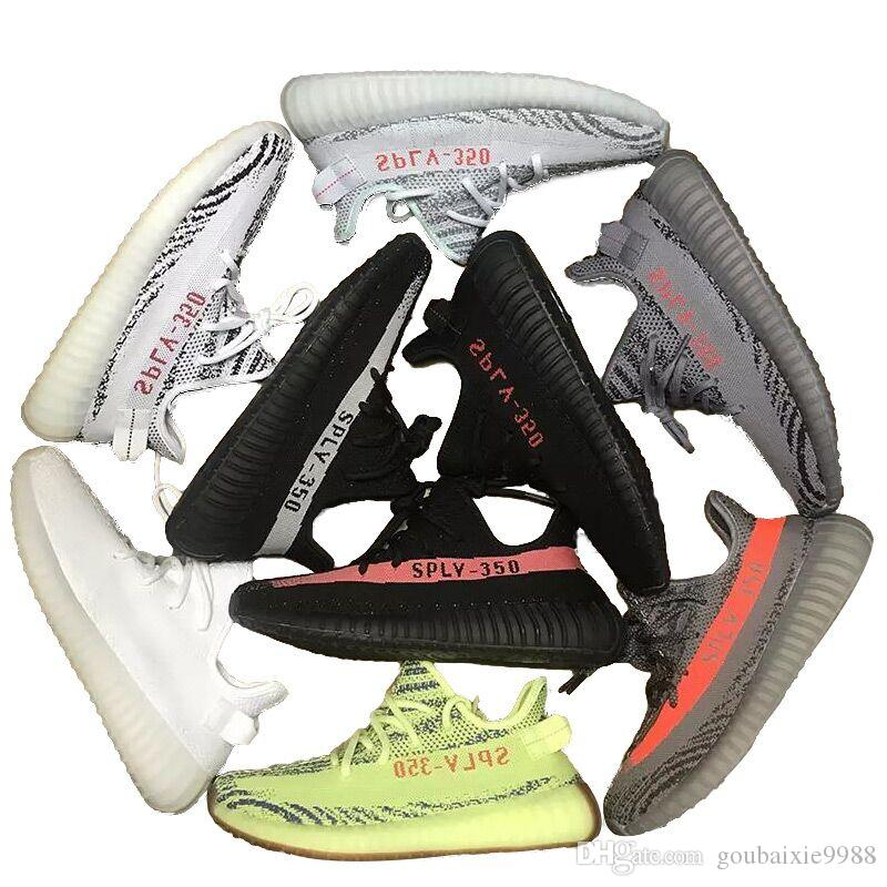 b937259002155 Blue Tint 350 V2 Running Shoes KaNye West Triple White Black Grey ...