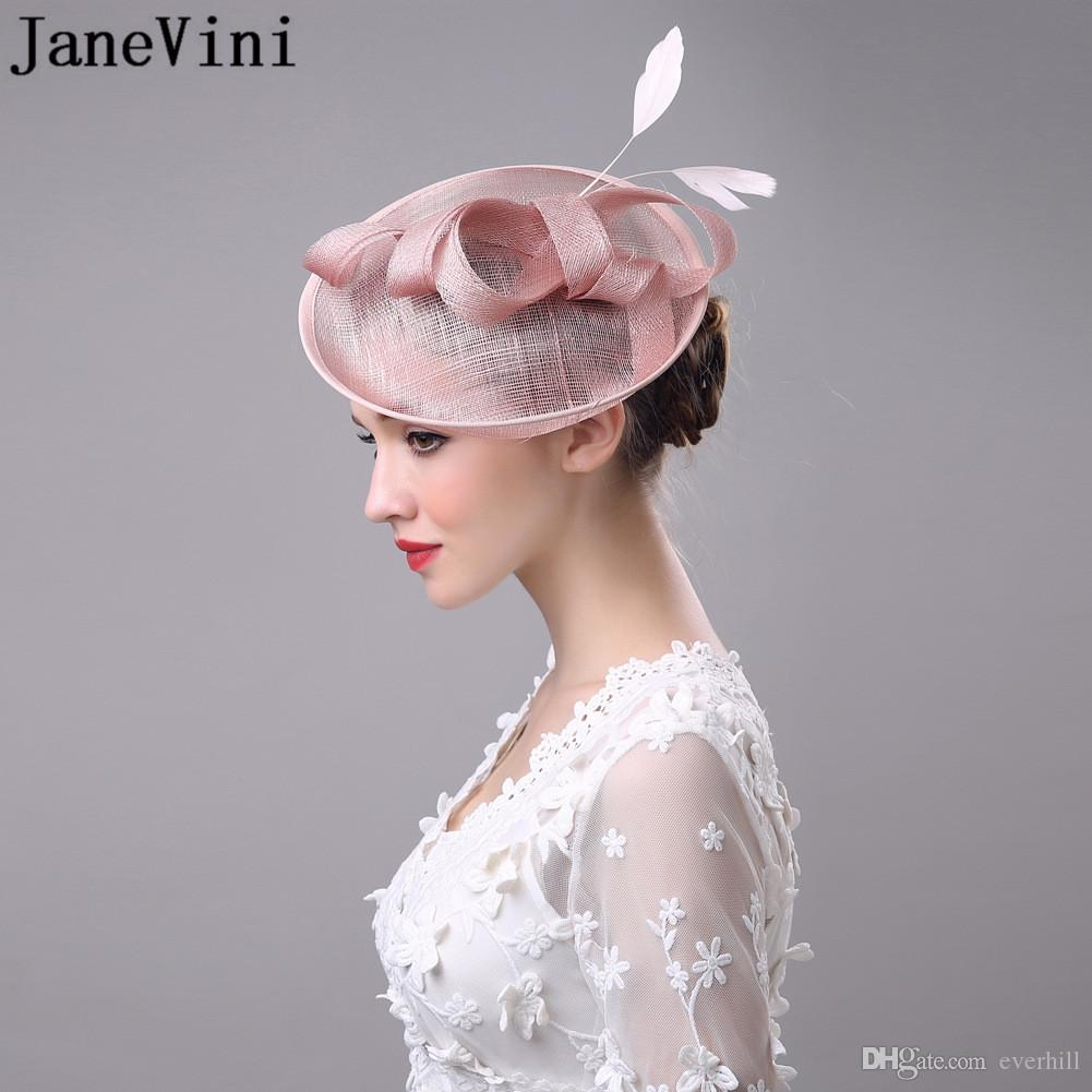 JaneVini Vintage White Black Pink Wedding Bridal Hat Flower Outside Holiday Feather Womens Hats And Fascinators With Hairpin
