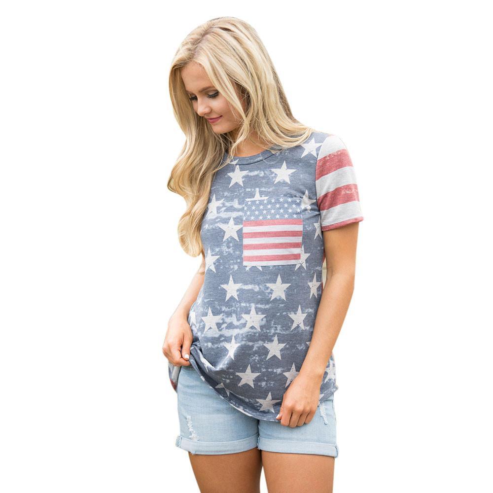 0281d7ca31 Compre Estilo Europeu T Shirt Das Mulheres Tops De Colheita Bandeira  Americana Impressão Sexy Manga Curta Tops Tee Camiseta Mujer Hot Girl  Colete   5 De ...