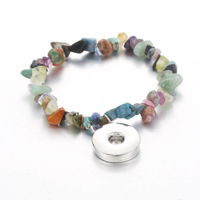 38a93cd7cb3c Joyería de piedra natural Snap 18mm Pulsera con botón a presión Elástico  ajustable hecho a mano Cuentas de cristal pulseras para mujeres niñas ...