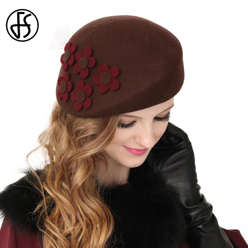 5149e6e87d7 2019 FS Winter Black Brown 100% Australia Wool French Beret Hats Fedora  Vintage Flower Women Felt Pillbox Hat Caps Ladies Party Hats From  Fotiaoqia, ...