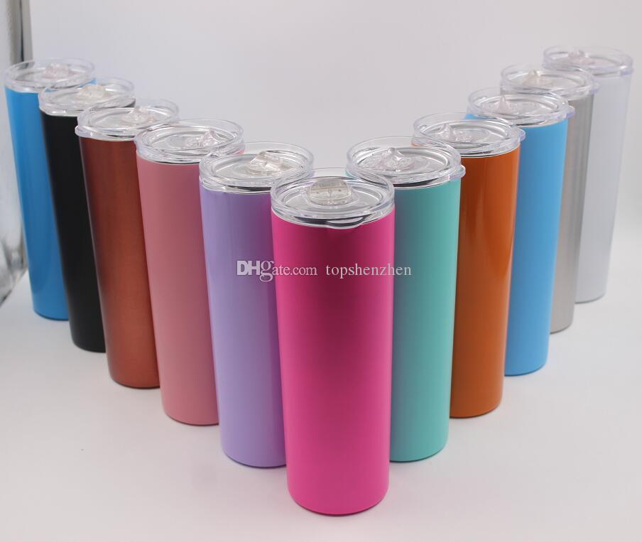 f6670ebdd5a 2019 20oz Skinny Tumbler Cups Double Wall Stainless Steel 20 Oz Tumbler  Vacuum Insulated Straight Cugs Flask Beer Coffee Mugs With Straws & Lids  From ...