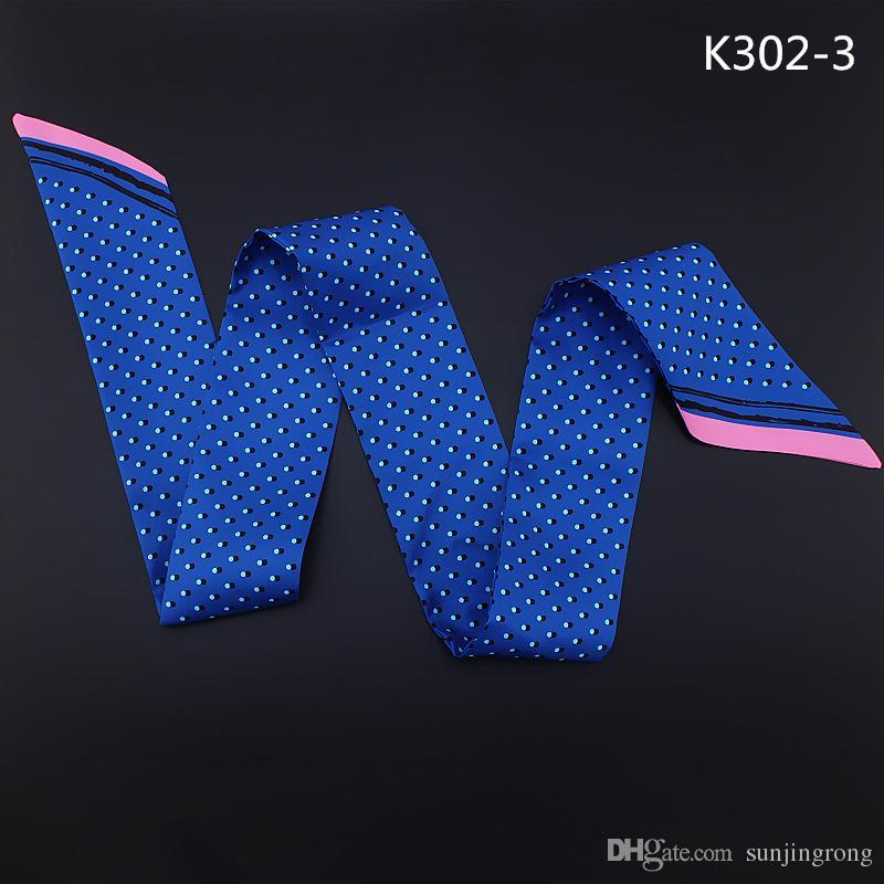Polka Dots Pattern Bow Ties Scarf Women Handle Bag Ribbon Neck Scarf Ladies Print Patchwork Kerchief Head Band Long Scarves