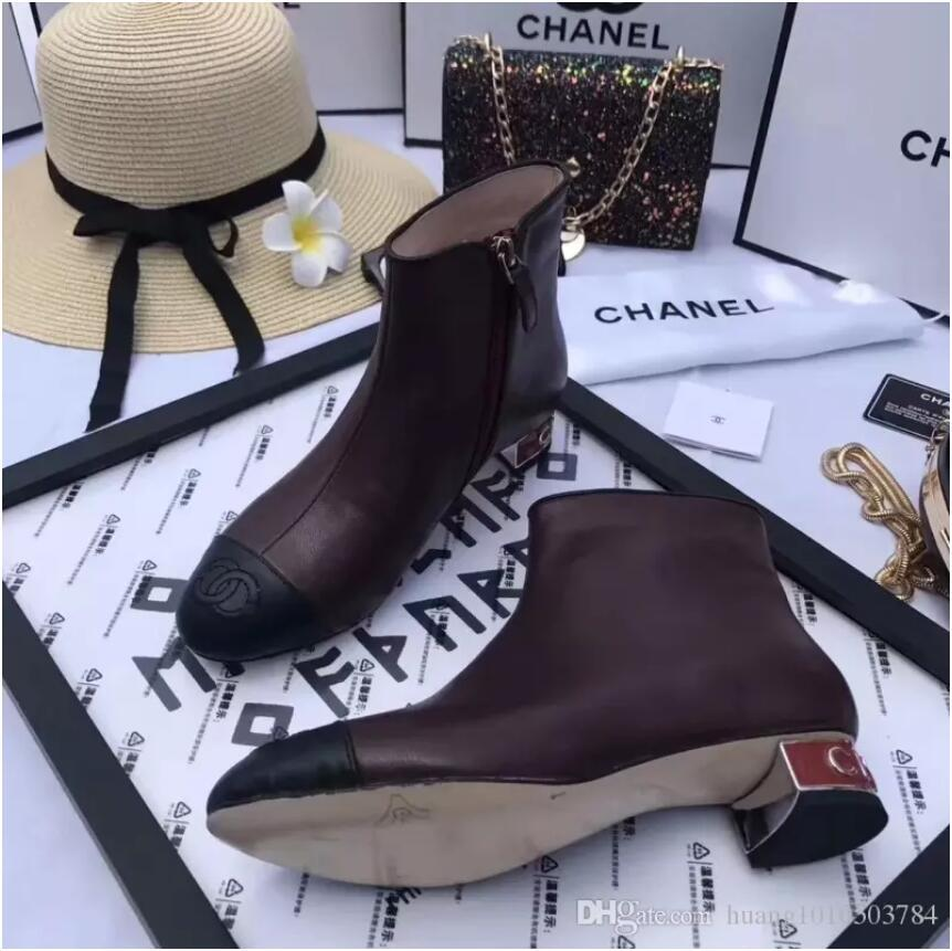 5effe922 C Home France Brand Famous 18ss CHAHEL Winter Show Women's Boots Vintage  Women Shoes Genuine Leather Designer Shoes