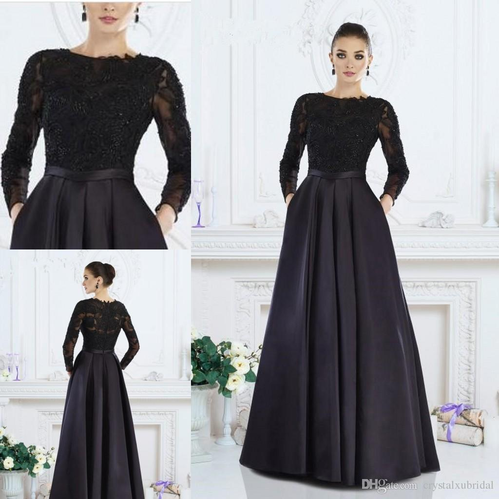 Black Long Sleeve Mother Of The Bride Dresses 2018 Boat Neck ...