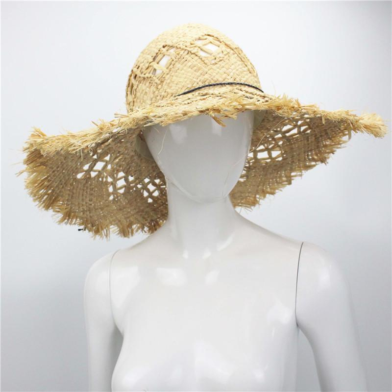 b4a49d7dfda3c Summer Beach Women Fedora Cap Wide Brim Vacation Floppy Straw Sun Hat 46cm Hand  Made Straw Hat Raffia Bucket Hats For Men Womens Hats From Nectarine99, ...