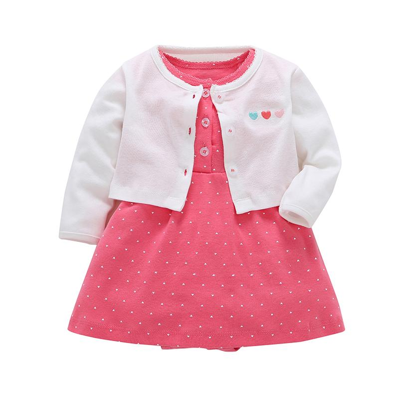 053fc4ef331ee Newborn Baby Girl Dress Cotton Cardigan Small shawl +Short sleeve floral  dress Infant Toddle girl children's clothing Set