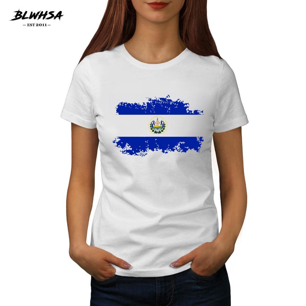 dcc59736c Women s Tee Blwhsa New El Salvador Flag Printing T Shirt Women Summer Round  Neck Brand T-shirts Fashion El Salvador National Flag Female Tee