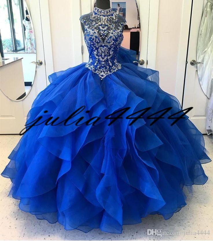 812445ec561d Acquista Royal Blue Quinceanera Abiti 2018 Modest Masquerade Ball Abiti  Perline Sweet 16 Princess Pageant Dress For Girls Birthday Wear Cheap A   138.41 Dal ...