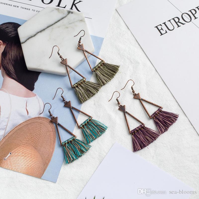 Kimter Vintage Retro Geometrische Dreieck Quaste Baumeln Ohrringe Frauen Modeschmuck Sommer Böhmischen Charme Ethnische Ohrringe D926S A