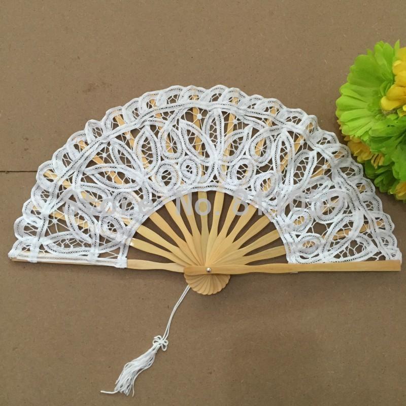 2018 27cm white battenburg lace fan wedding hand fan for bride white
