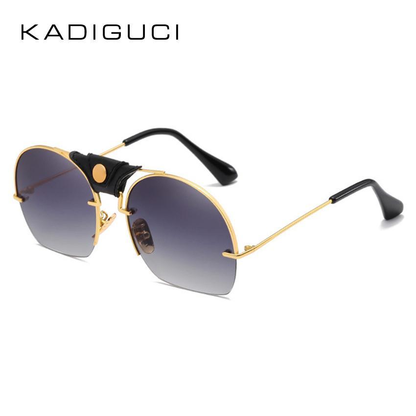 d08d9a89de8 KADEGUCI Semi-Rimless Sunglasses Women Brand Designer 2018 Gradient ...