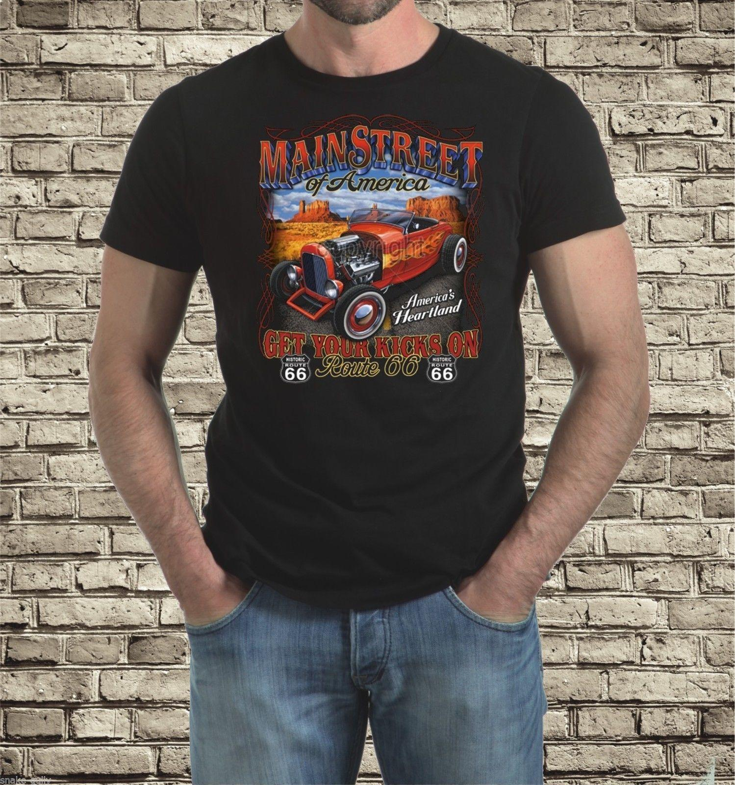 6ec05316f ROUTE 66 MAIN STREET HOT ROD T SHIRT Funny Team Shirts Trendy T Shirts For  Men From Wessyswaffy, $11.01| DHgate.Com