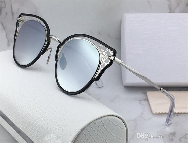 New fashion designer women style sunglasses JC DHELIA cat eye hollow frame top quality protection eyewear with original box