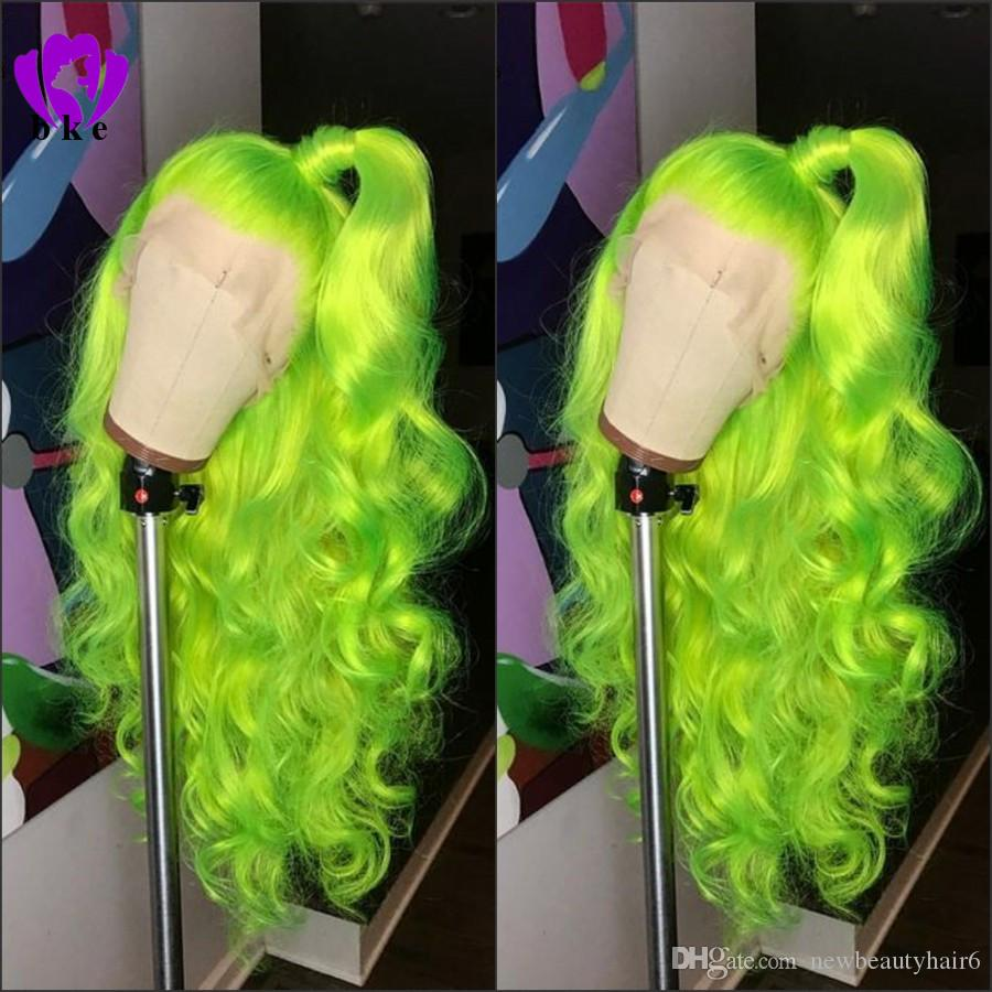Natural Long body wave free part Apple Green wig High Density Glueless Synthetic Lace Front Wigs for Women Party Makeup cosplay