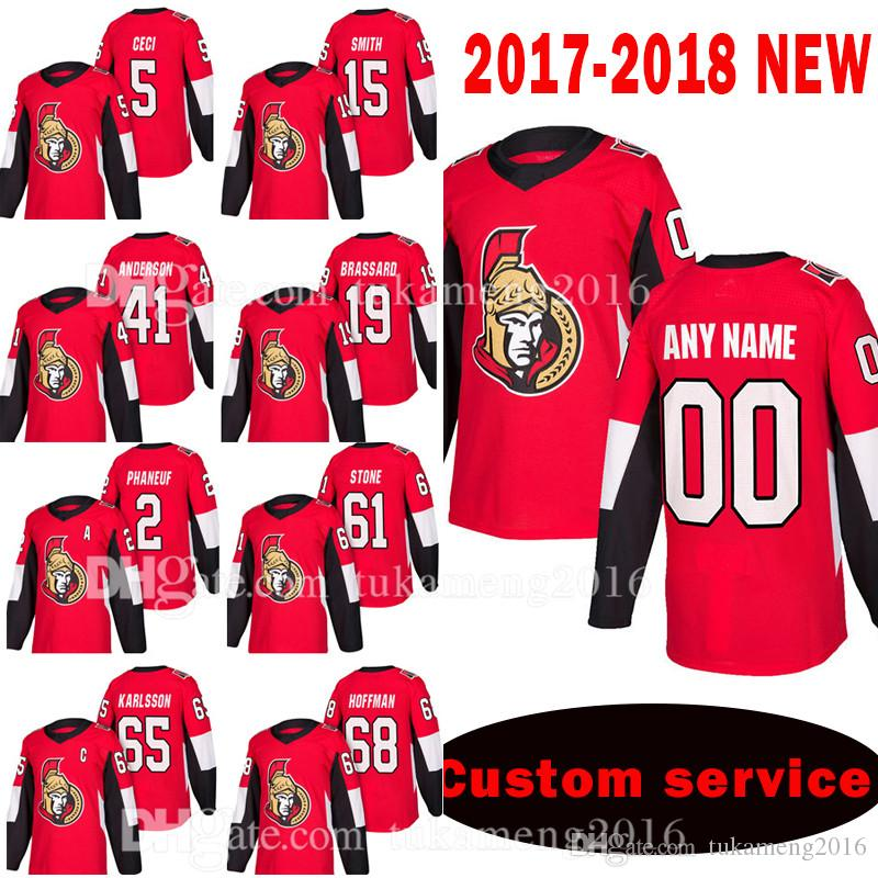 reputable site 8cf19 0f113 Ottawa Senators Custom 2017-2018 New 5 Cody Ceci 15 Zack Smith Jersey 41  Craig Anderson 19 Derick Brassard 2 Dion Phaneuf Jerseys
