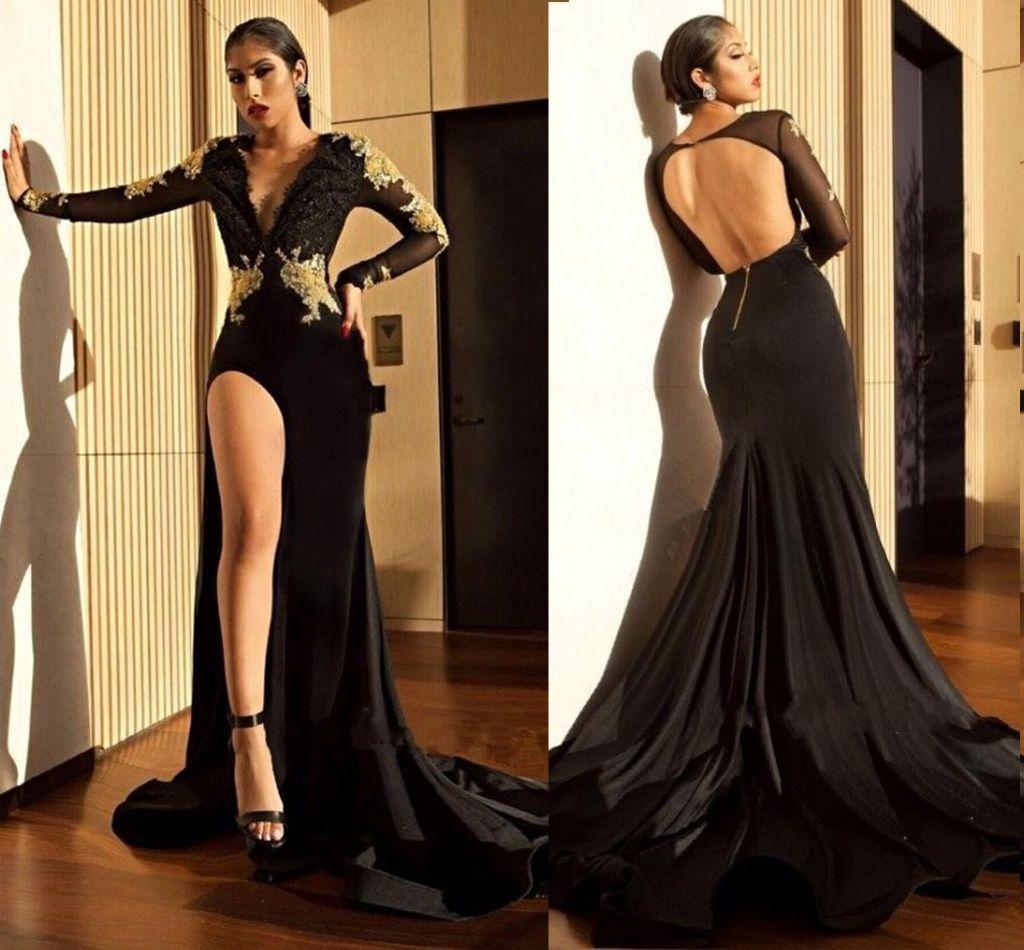 0c63046bae7 Sexy Black Mermaid Prom Dresses 2018 Deep V Neck Long Sleeves Appliques  Beaded Satin Split Side Backless Evening Dresses Sweep Train Brown Prom  Dresses ...