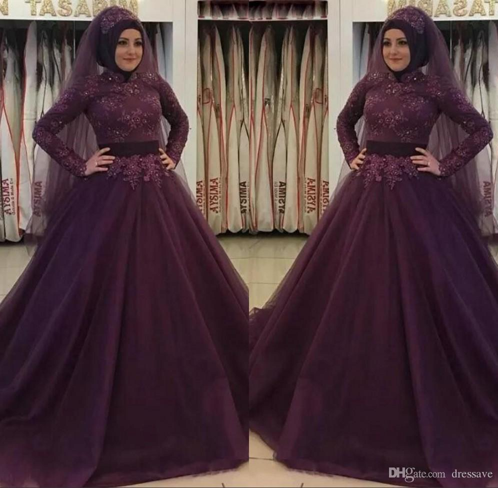 6e50aa8a7b75 Grape Modest High Neck Long Prom Dresses Long Sleeves A Line Formal Evening  Party Gowns Lace Appliques Beaded Middle East Muslim Dresses Vintage Evening  ...