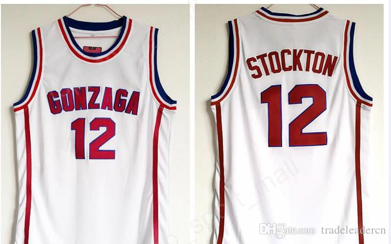 a025e0b87 Gonzaga Bulldogs Basketball 12 John Stockton Jersey High School Team White  Color Stockton Bulldogs Jerseys Breathable Sport Basketball Jersey Retro ...
