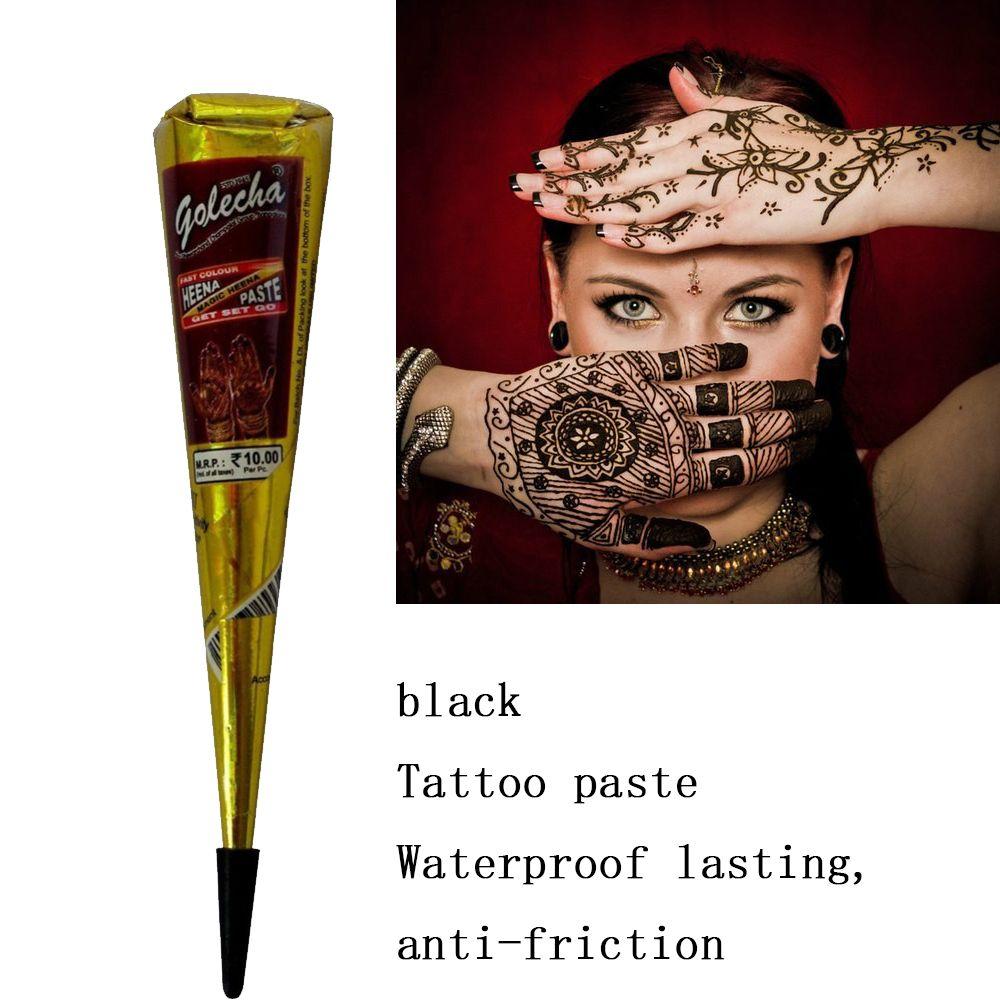 Golecha Black Indian Henna Tattoo Paste Cream Cones Temporary Mehndi