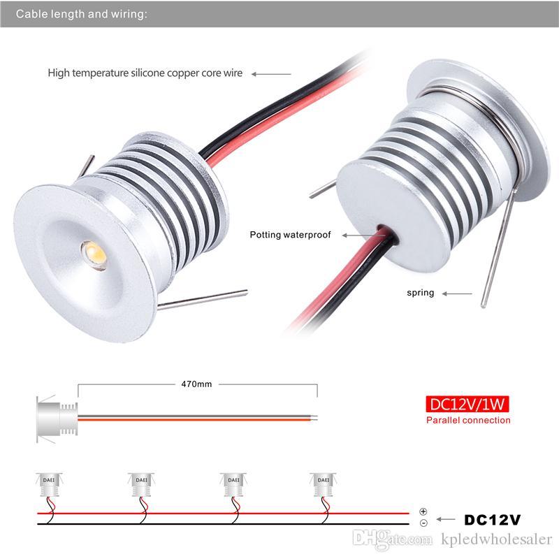 Faretti da incasso a soffitto Mini LED da 1W, incasso da incasso 12V con tagli da 25 mm, illuminazione decorativa 60D / 120D, faretti ambienti 4 pz / lotto