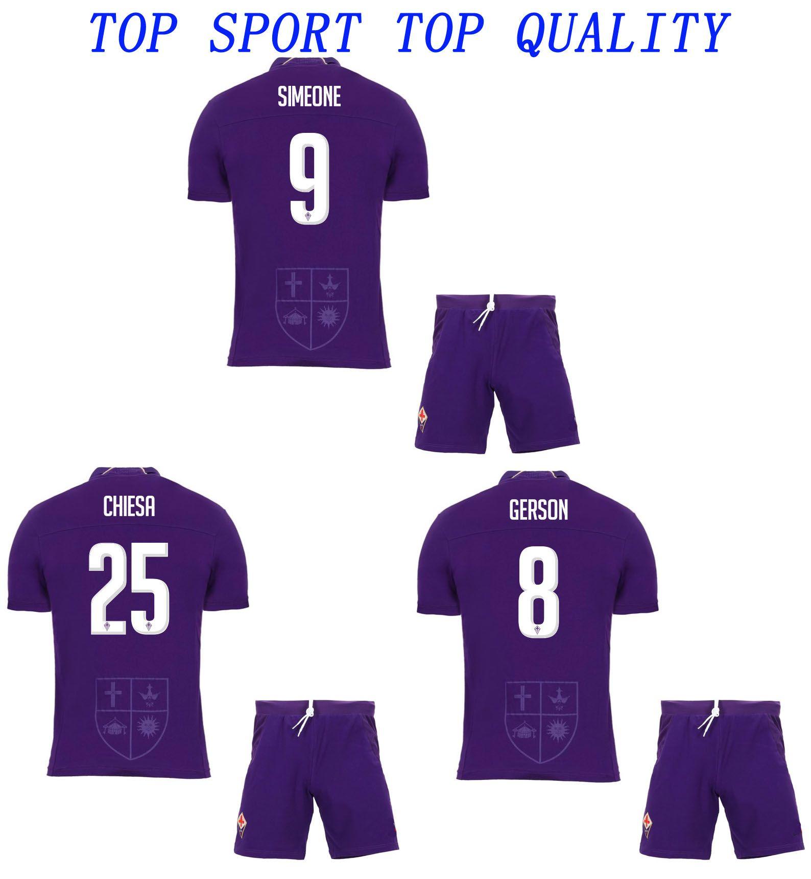 18 19 Fiorentina Home Kit Soccer Jersey Shorts 2018 19 PJACA DIKS CHIESA  VERETOUT GERSON SIMEONE Conjuntos De Fútbol ACF Calidad Tailandesa Trajes  ... 03aef3afeccb1
