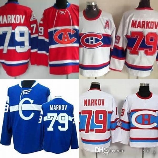 Hot Sale Mens Montreal Canadiens 79 Andrei Markov Red White Blue Best  Quality Cheap Full Embroidery Logos Ice Hockey Jerseys Size S-3XL f6644237b6e