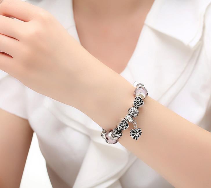 Heißer Verkauf Diy Pandora Armband Europa American Popular Schmuck Festival Geschenk Frauen Armband tibetischen Silber feinen Glas Perlen Armband