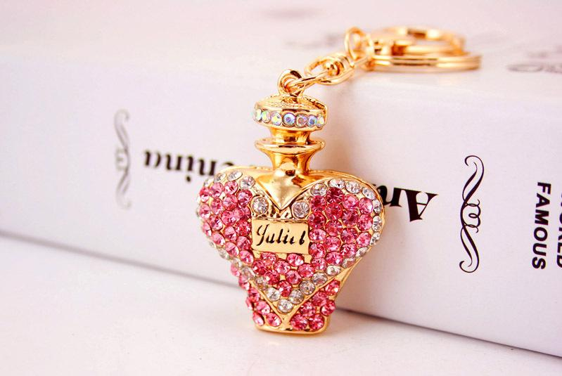 Perfume Bottle Keychain - Luxury Rhinestone Key Chain Ring Holder Keyring Bag Charm Pendant Womens Jewelry Keychains Gift