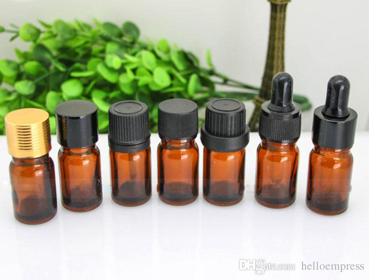 Supply 5ml Brown Small Essential Oil Bottles Essential Oil Split Glass Bottle 5 ML Ejuice Eliquid Small Dropping Bottle Free DHL Shipping