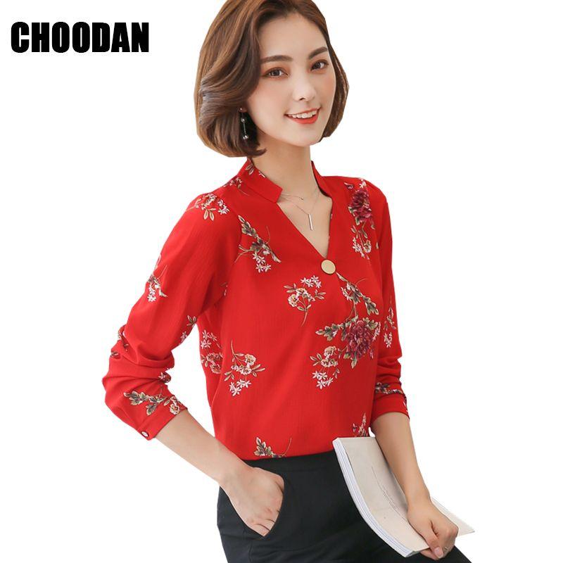 eaaa3a80a Mulheres Blusas E Camisas 2018 Nova Primavera Verão Coreano Moda Chiffon Blusa  Feminina Manga Comprida Flor de Impressão Senhoras Do Escritório Tops