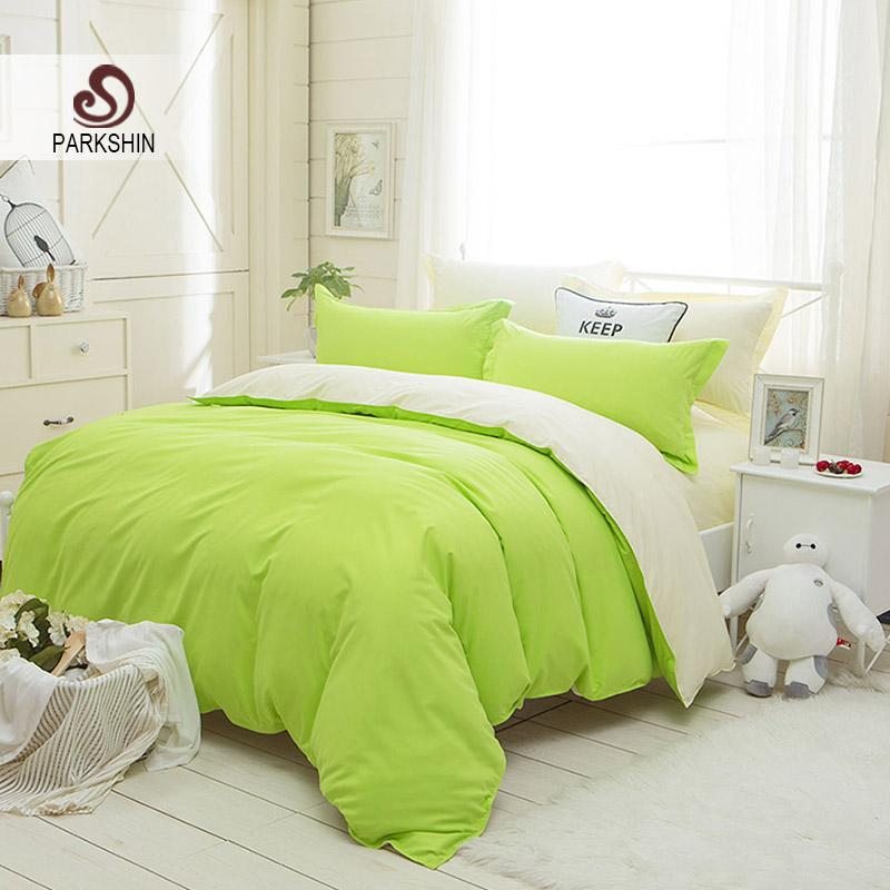 Parkshin Bright Green And White Solid Color Bedding Set Plain Double