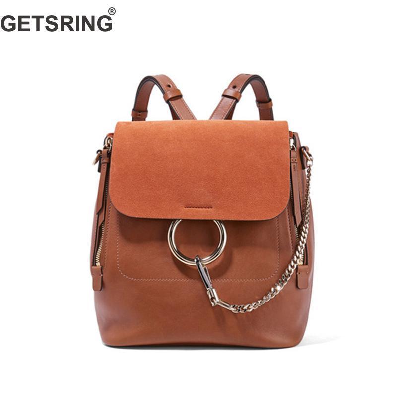 GETSRING Women Bag Women Backpack Shoulder Bag Genuine Leather Back ... a73e979f2af7a