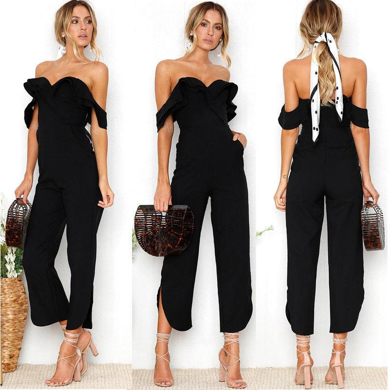 4a5155ab18287 Fashion Formal Summer Women Ladies Jumpsuits Short Sleeve Off Shoulder  Strapless Solid Black Wide Leg Pants Jumpsuits