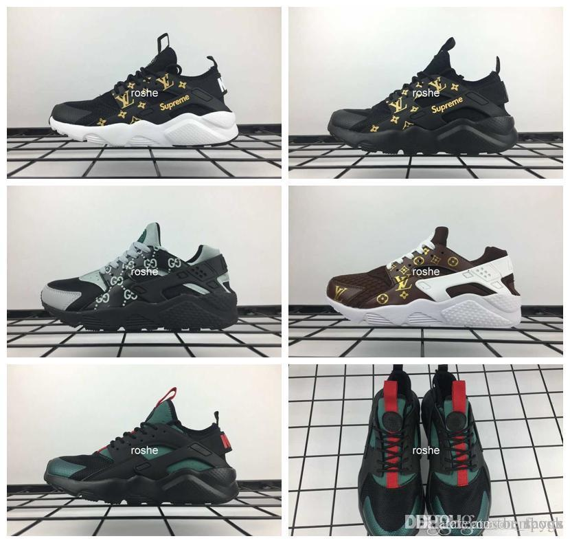 brand new 7b90e e8f44 Acheter 2018 Gucci Lv Chaussures Burberry Nouvelles Huaraches Chaussures De  Course Pour Hommes Femmes, Haute Qualité Huarache Célèbre Marque Huraches  ...
