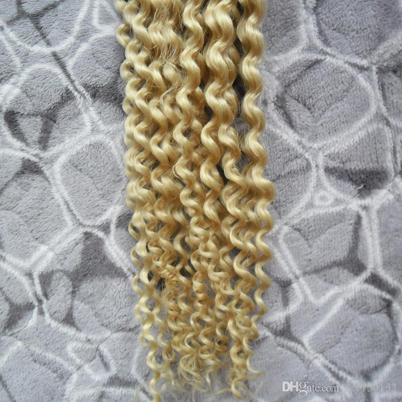613 Bleach Blonde Keratin Capsules Human Fusion Hair Kinky Curly Nail I Tip Machine Made Remy Pre Bonded Hair Extension 100g 100s