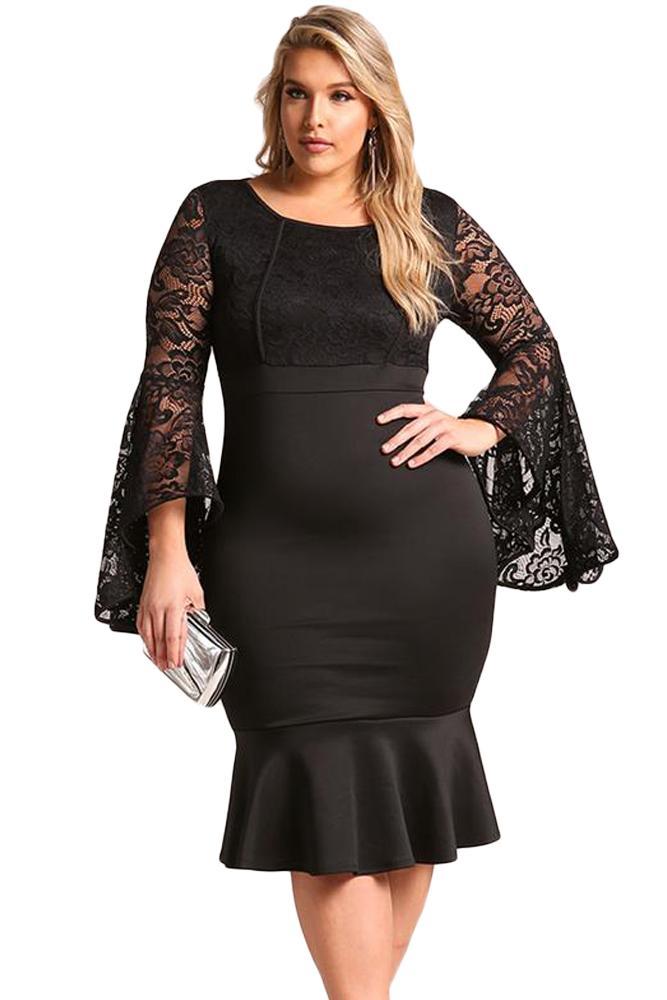 Plus Size Club Dress Lace Butterfly Long Sleeve Dresses Black