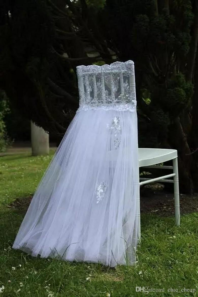 2018 Lace Tulle Wedding Chair Sashes Vintage Romantic White Chair Covers Floral Wedding Supplies Cheap Wedding Accessories